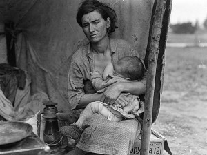 """Migrant Mother 1936 2"" by Dorothea Lange. Licensed under Public domain via Wikimedia Commons."