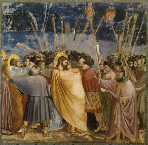 """Giotto di Bondone - No. 31 Scenes from the Life of Christ - 15. The Arrest of Christ (Kiss of Judas) - WGA09216"" di Giotto - Web Gallery of Art:   Image  Info about artwork. Con licenza Pubblico dominio tramite Wikimedia Commons."
