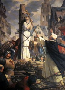 """Joan of arc burning at stake"" di User Mcyjerry on zh.wikipedia - Originally from zh.wikipedia; description page is (was) here18:46 2006?5?12? Mcyjerry 400x613 (254,292??) ({{PD-old}} Joan of arc burning at stake. Drawn by Jules-Eugène Lenepveu (1819-1898), a French neoclassical artist.). Con licenza Pubblico dominio tramite Wikimedia Commons."