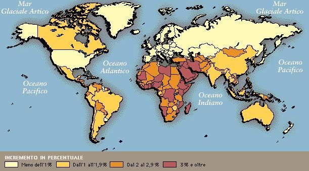 Planisfero con tassi di aumento della popolazione per aree