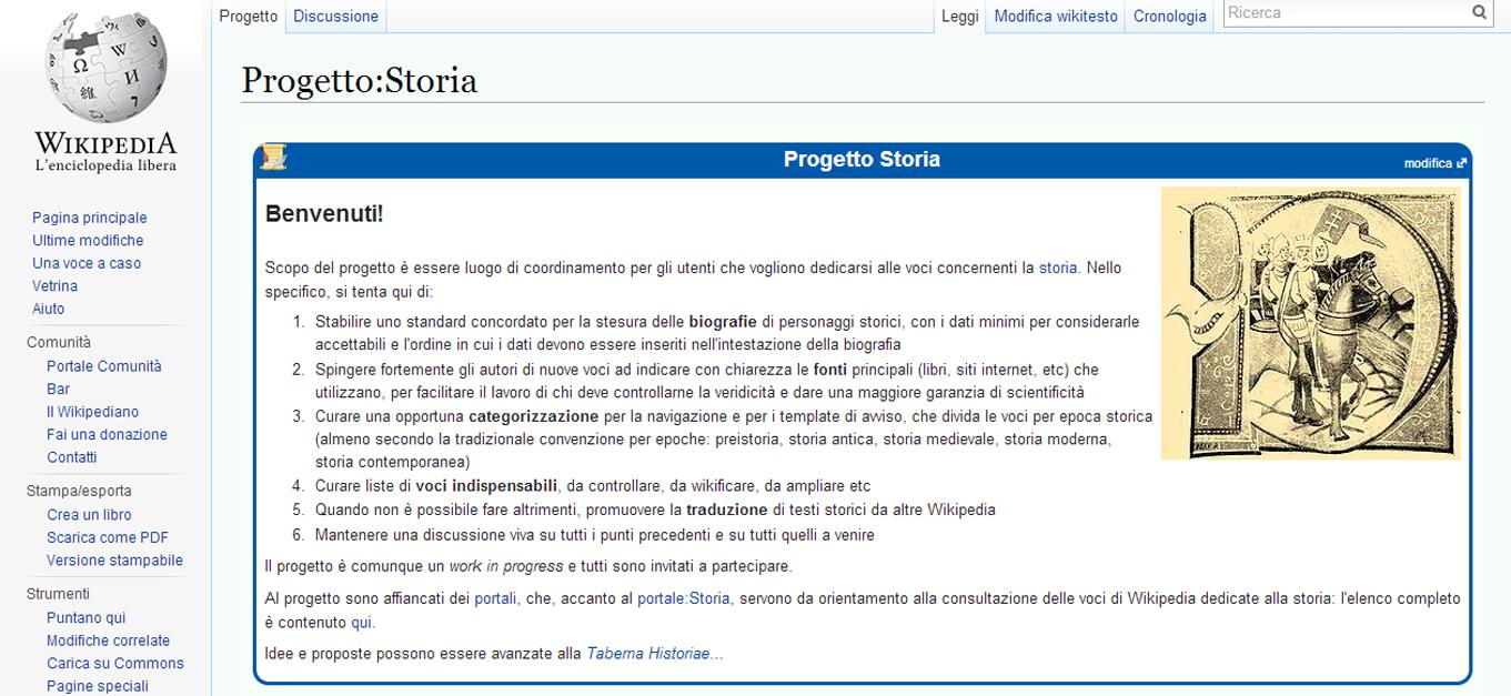 wikipedia progetto storia
