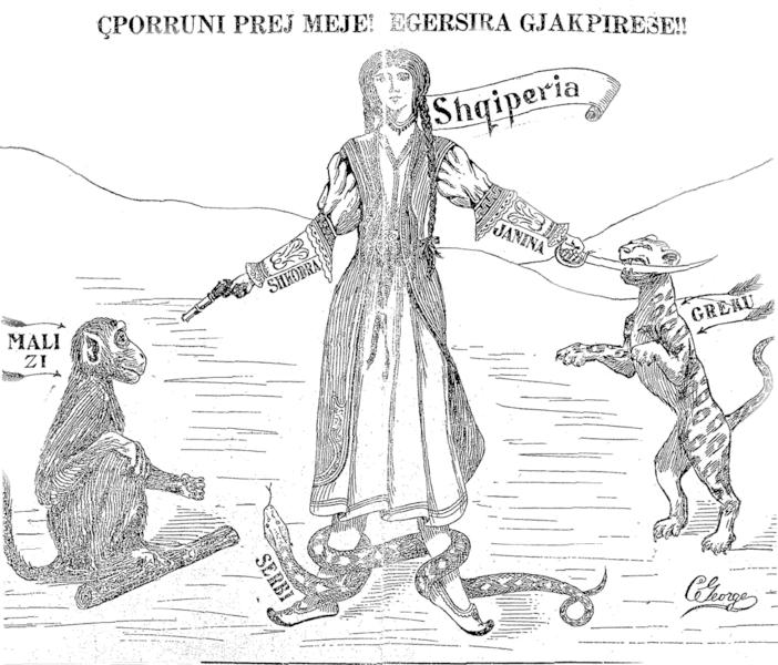 """La caricatura mostra una donna che impersona l'Albania e si difende dall'attacco dei paesi vicini. Il Montenegro è rappresentato come una scimmia, la Grecia come una tigre, e la Serbia come un serpente. Il testo in albanese recita: """"Via da me! Sanguisughe!"""" Newspaper """"Dielli"""". 13.02.1913, pg. 3"""