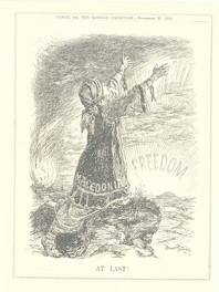 Illustrazione: Macedonia, finalmente la Libertà. Punch or the London charivari, 27 novembre 1912.