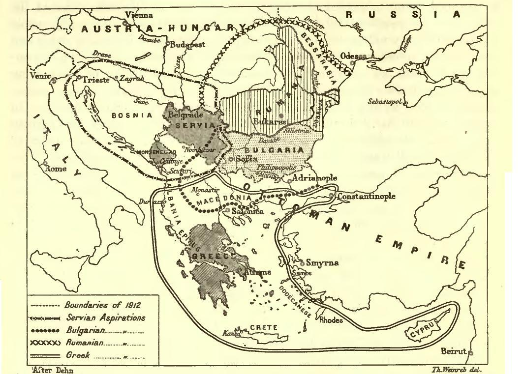 """Territorial aspirations of the Balkan states, 1912"" di Th. Weinreb / Carnegie Endowment for International Peace - Carnegie Endowment for International Peace (Division of Intercourse and Education; Report of the International Commission to Inquire into the Causes and Conduct of the Balkan Wars. 1914. Con licenza Public domain tramite Wikimedia Commons."