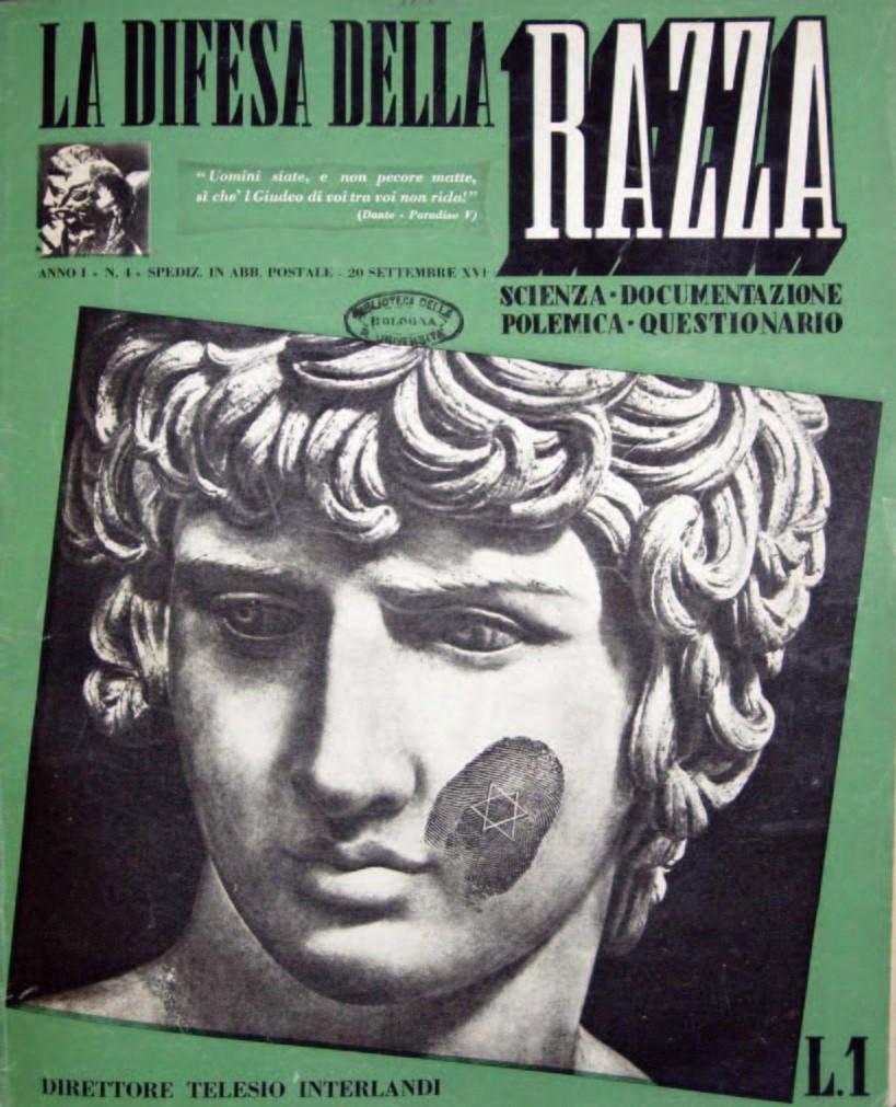 Copertina di «La difesa della razza», a. I, n. 4, 20 settembre 1938