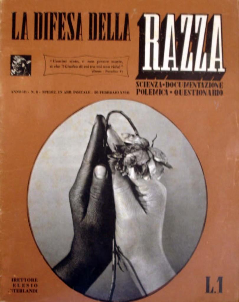 Copertina di «La difesa della razza», a. IV, n. 3, 20 febbraio 1940