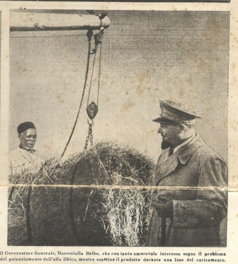 Trasporto dell'alfa libica ai porti d'imbarco, da «L'Azione Coloniale»,Numero Speciale Autarchico Fuori Serie, Giovedì 18 Gennaio 1940, Anno X numero 3 bis, p.1