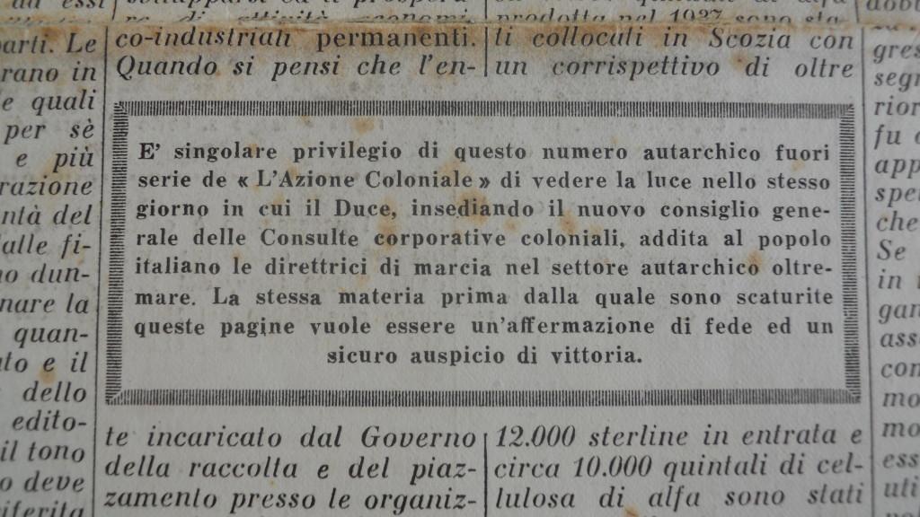 «L'Azione Coloniale», Numero Speciale Autarchico Fuori Serie, Giovedì 18 Gennaio 1940, Anno X numero 3 bis, p.1