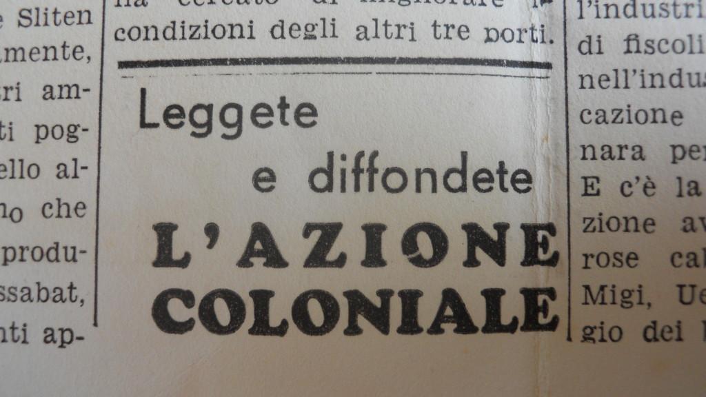 «L'Azione Coloniale»,Numero Speciale Autarchico Fuori Serie, Giovedì 18 Gennaio 1940, Anno X numero 3 bis, p.3.