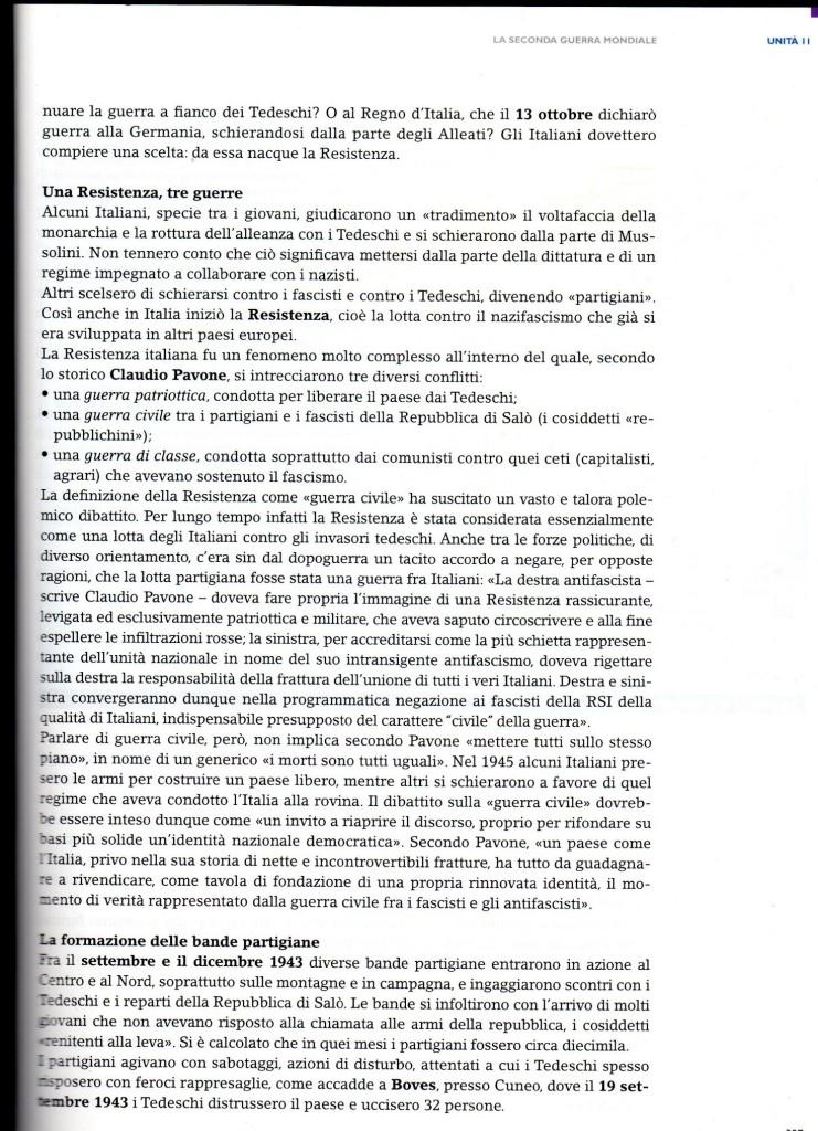 Presentazione della Resistenza in Italia nel manuale Millennium