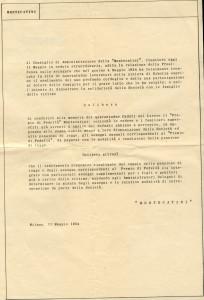 Lettera raccomandata con cui la Montecatini offre un risarcimento alle famiglie delle vittime, 11 maggio 1954 (da archivio privato)