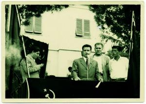 Comizio di Ingrao a Ribolla, foto Tagliaferri, [1951]. Il repertorio fotografico è stato tratto dal volume curato da Cipriani Massimo, La miniera a memoria, Roccastrada, 2004