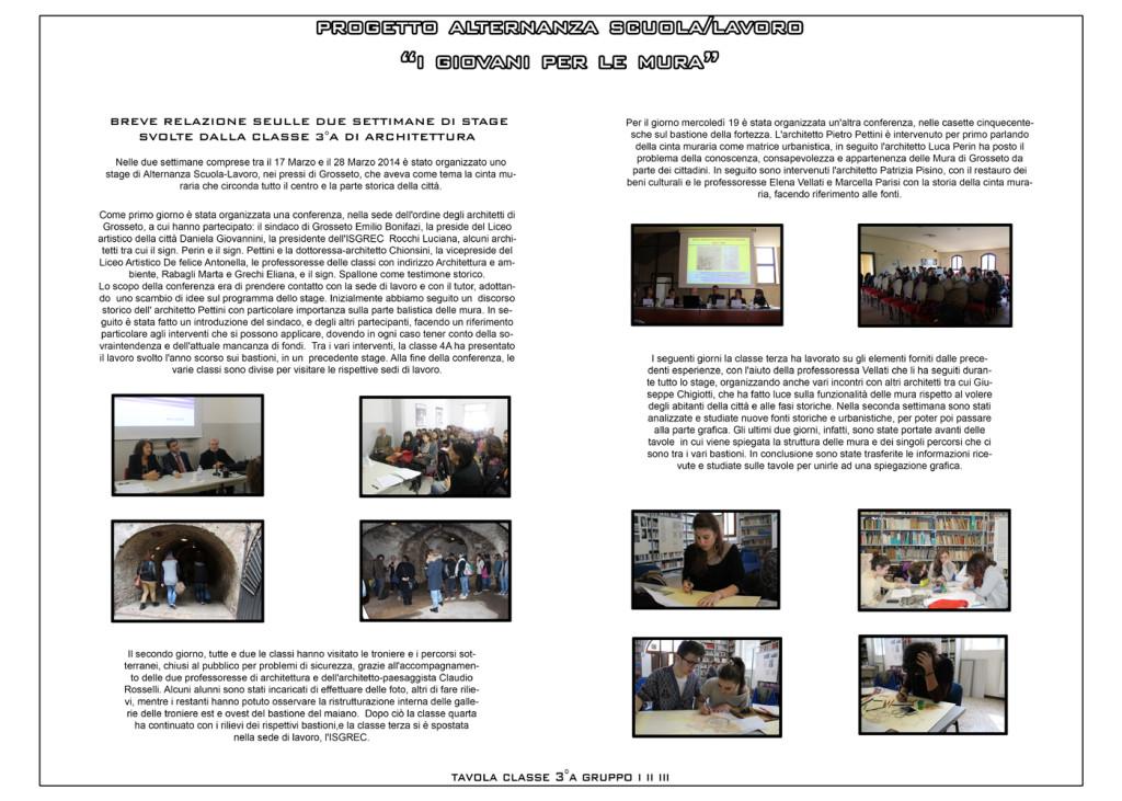 Pannello riassuntivo del lavoro svolto presso l'ISGREC dalla Classe III A, anno scolastico 2013/2014