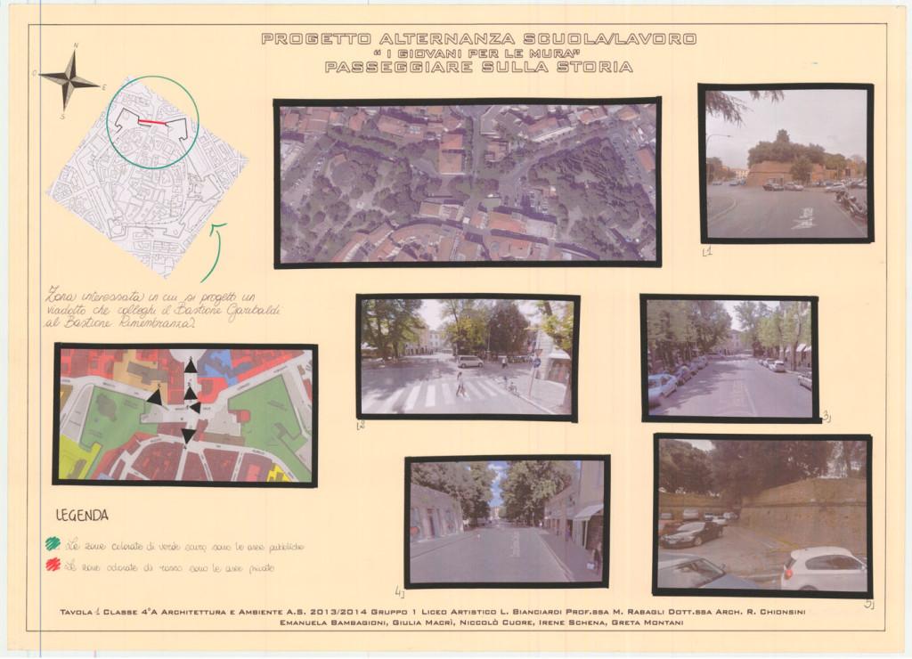 I progetti dei ragazzi: Un ponte che unisce il Bastione Rimembranza e il Bastione Garibaldi, studio di fattibilità, Classe IV A anno scolastico 2013/2014