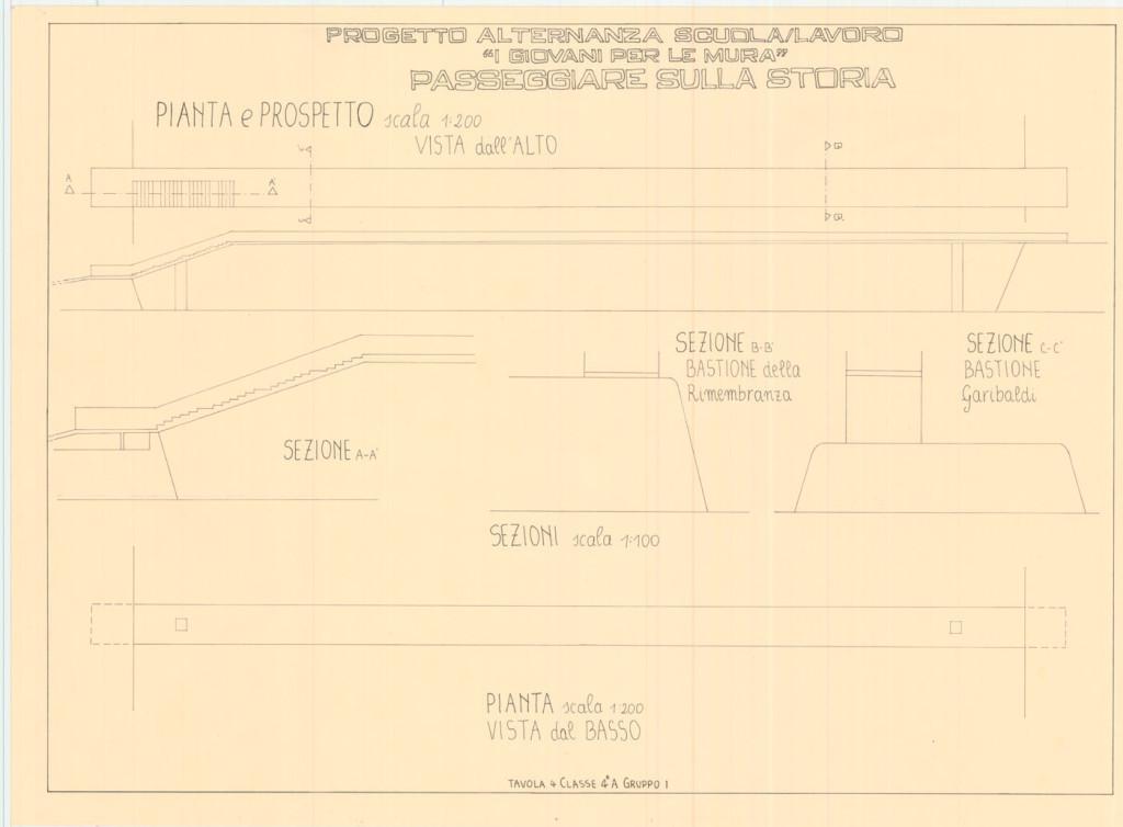 6)I progetti dei ragazzi: Un ponte che unisce il Bastione Rimembranza e il Bastione Garibaldi, prospetti, piante e sezioni, Classe IV A anno scolastico 2013/2014