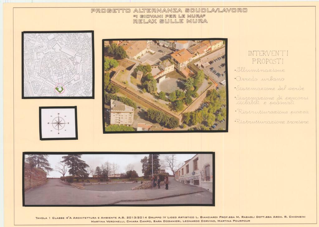 I progetti dei ragazzi: recupero del Bastione Cavallerizza, interventi proposti, Classe IV A anno scolastico 2013/2014
