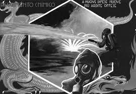 Cartolina postale che esalta l'uso degli aggressivi chimici (dal testo di Pioselli)