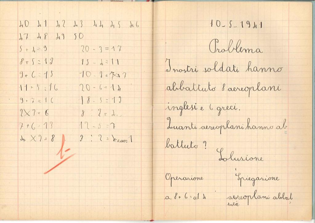 Quaderno di Esercizi di Aritmetica di Pettini Elio, classe Ia maschile, Anno 1940-41. Fonte: Archivio Indire.