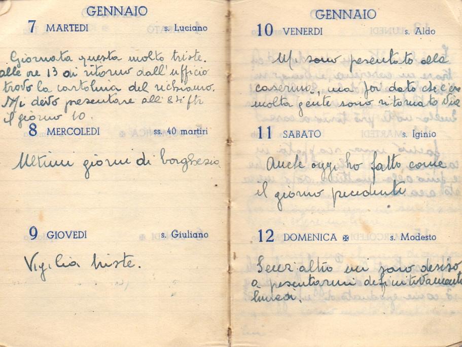 Pagine del diario di Otello Beni, scritto durante il periodo di leva in Albania (1941)