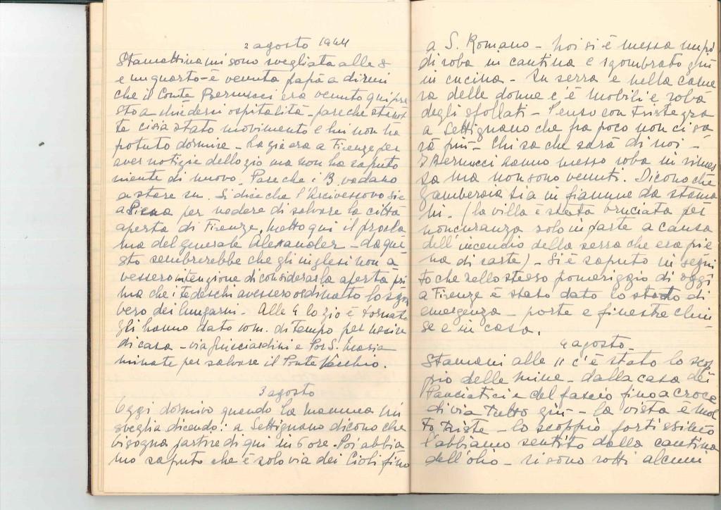 Pagine del diario di Maria Vittoria Ruta (1944).