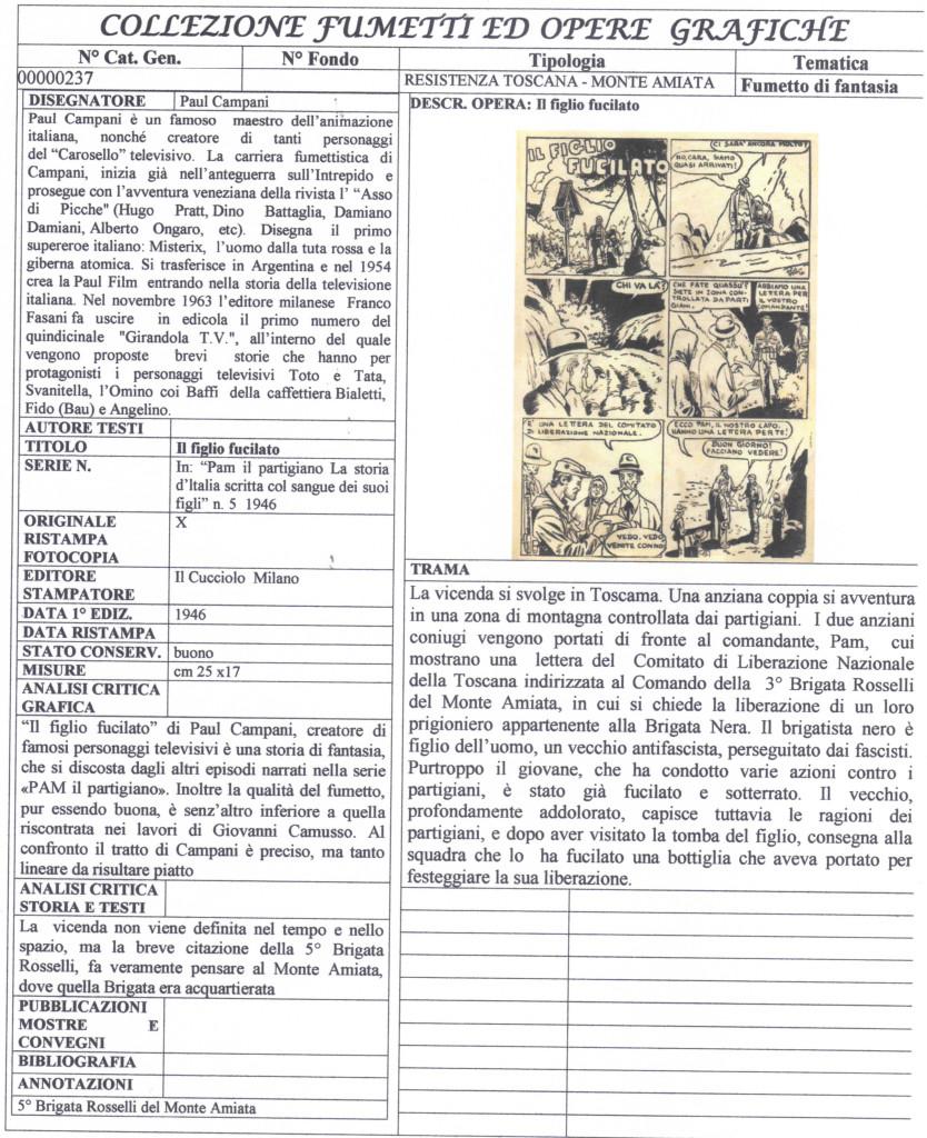 Fig. 1: Scheda bibliografica di: IL FIGLIO FUCILATO di Paul Campani in: «PAM il partigiano. La storia d'ltalia scritta col sangue dei suoi figli» 1946 numero 5 Milano: Il Cucciolo