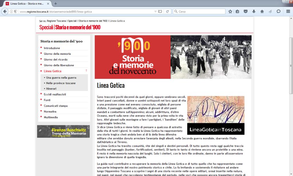 Fig. 1 - Homepage Linea Gotica (http://www.regione.toscana.it/storiaememoriedel900/linea-gotica)