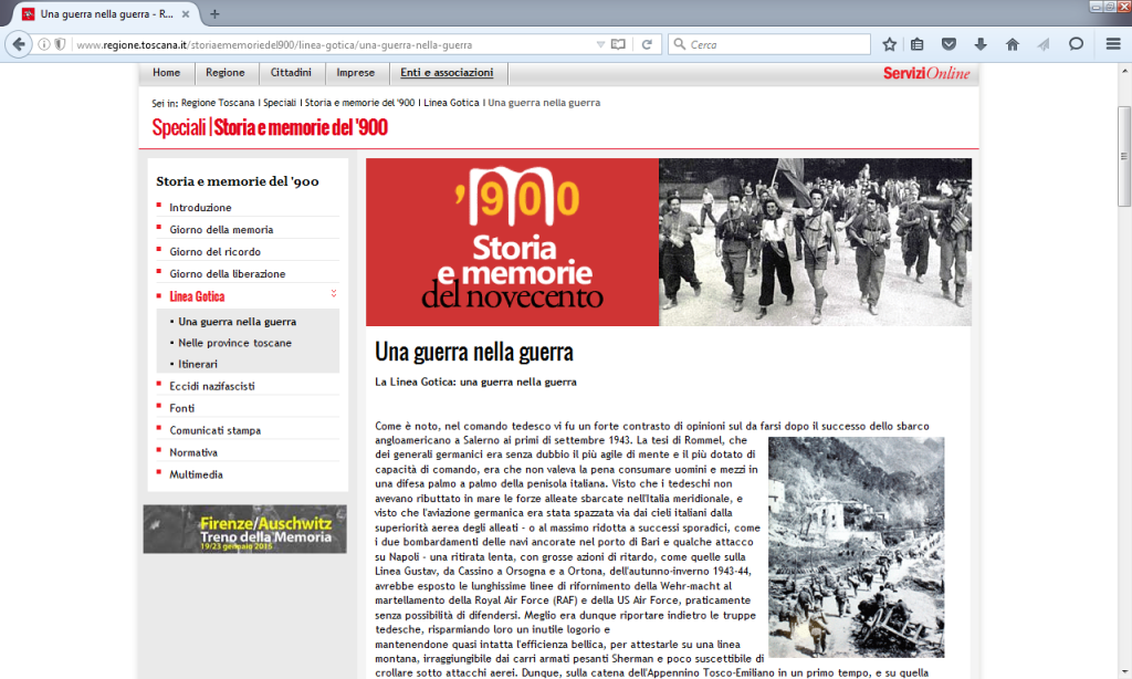 Fig. 2 - Una guerra nella guerra (http://www.regione.toscana.it/storiaememoriedel900/linea-gotica/una-guerra-nella-guerra)