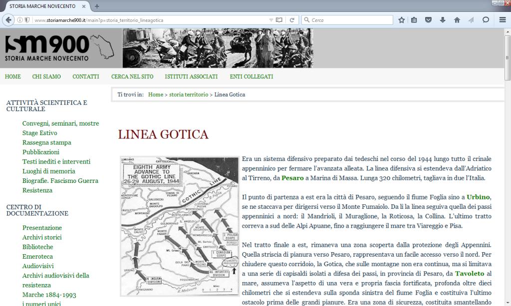 Fig. 4 Linea Gotica in I luoghi di memoria nelle Marche (http://www.storiamarche900.it/main?p=storia_territorio_lineagotica)