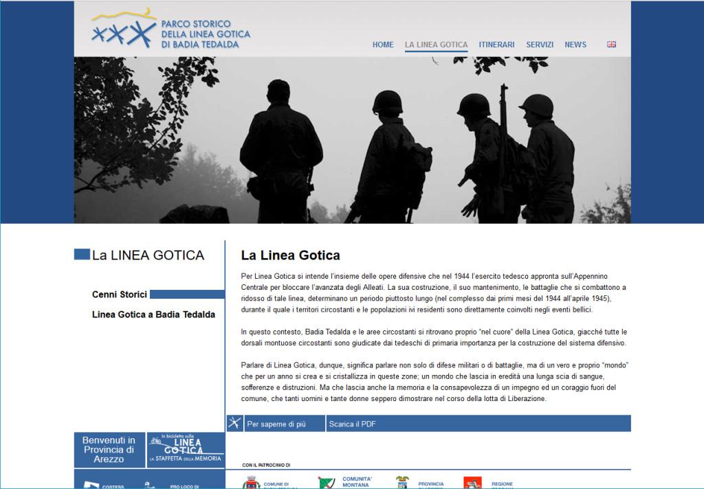 """Il sito """"Parco storico della Linea gotica di Badia Tebalda"""" (www.parcostoricolineagotica.it)"""