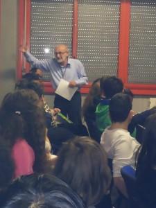 Franco Debenedetti Teglio alla scuola media statale di Domodossola nel febbraio 2015