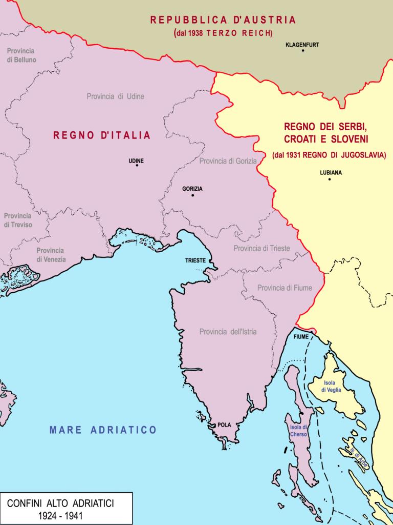 Fig. 1 Il confine del Regno d'Italia dal 1924 al 1941