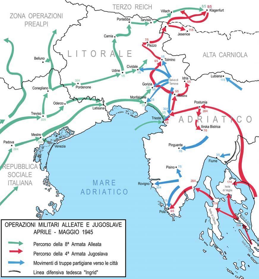 Figura 4. Operazioni militari alleate e jugoslave - aprile - maggio 1945. La corsa per Trieste.