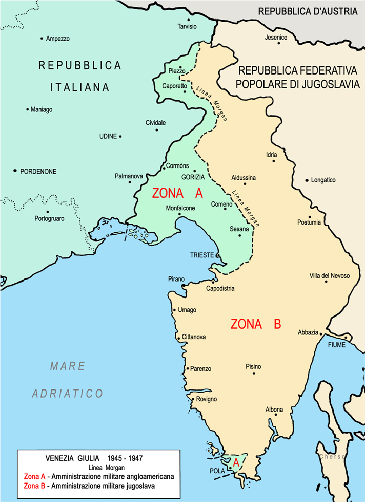 Figura 5. Venezia Giulia 1945-1947. Linea Morgan