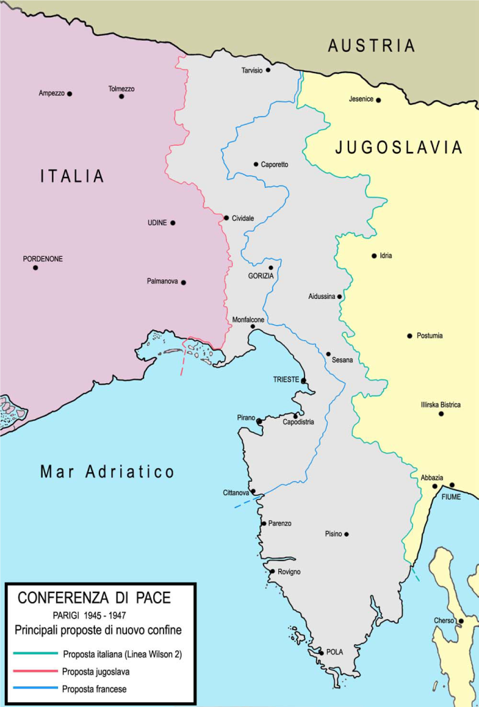 Figura 6. Conferenza di Pace. Parigi 1945-1947. Principali proposte di nuovi confini.